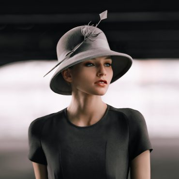 Cloche hat adorned with a feather