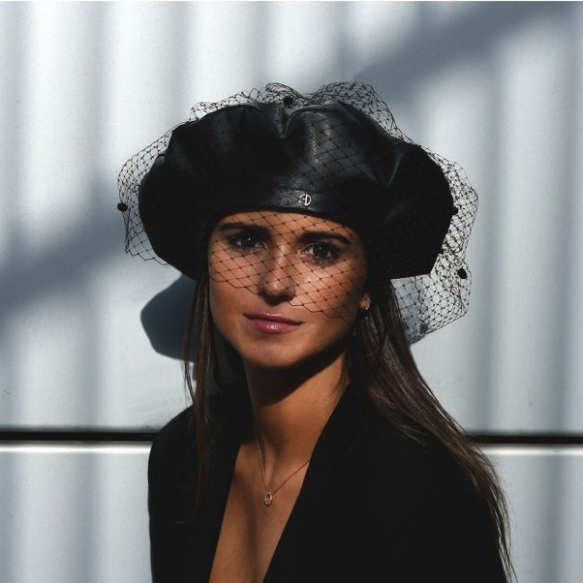 Leather beret with veil