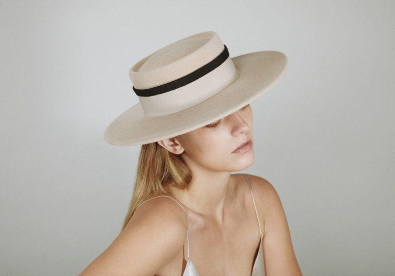 Boater hoed van velours-vilt