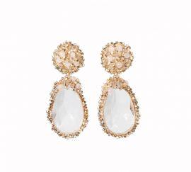 Crystal beads pink earrings