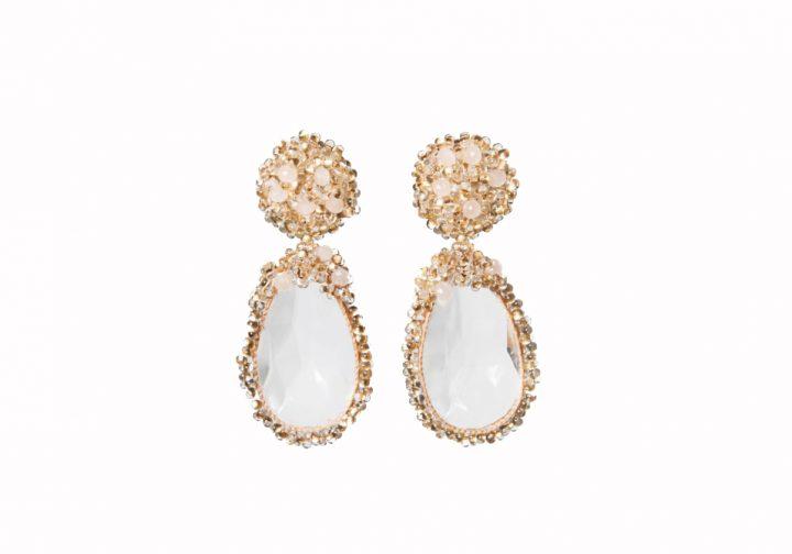 Boucles d'oreilles roses en perles de cristal