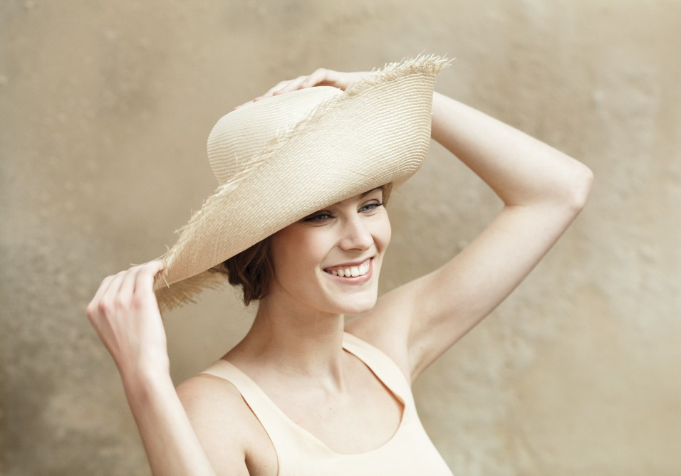 Straw hat with frayed edges