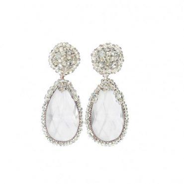 Boucles d'oreilles grises en perles de cristal