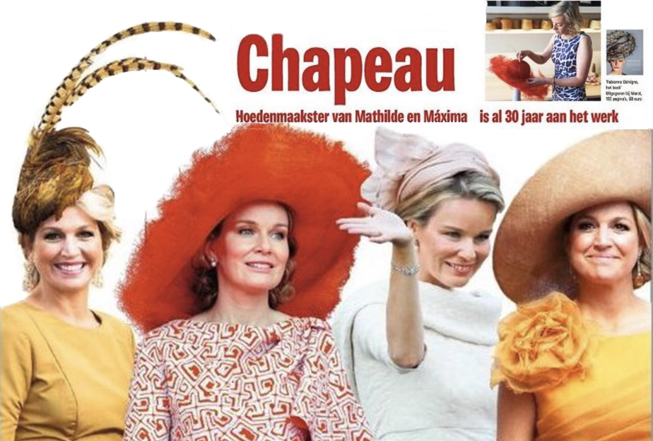 Fabienne Delvigne Actualité article dans Het Newsblad la creatrice de chapeaux de Mathilde et Maxima fête ses 30 ans de travail