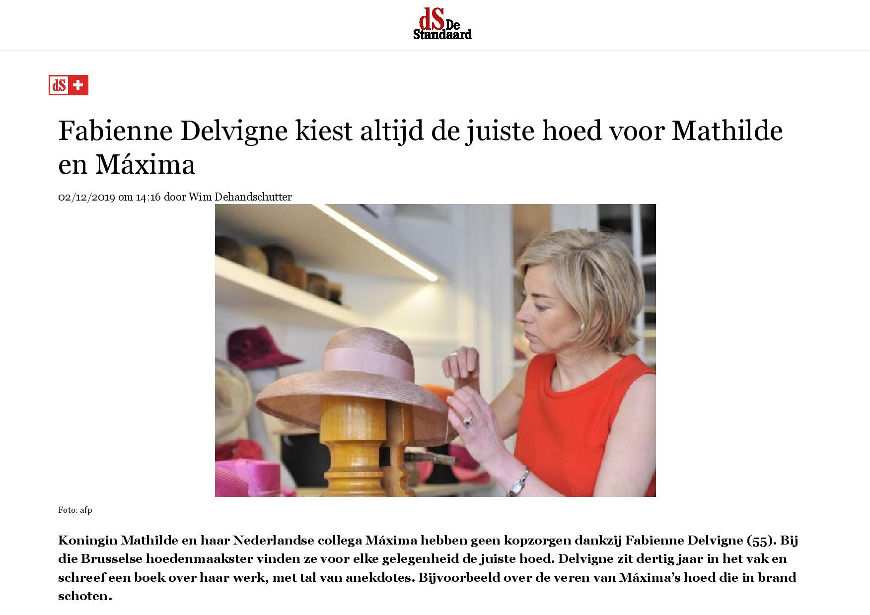 """De Standaard - """"Fabienne Delvigne kiest altijd de juiste hoed voor Mathilde en Máxima"""" (NL)"""