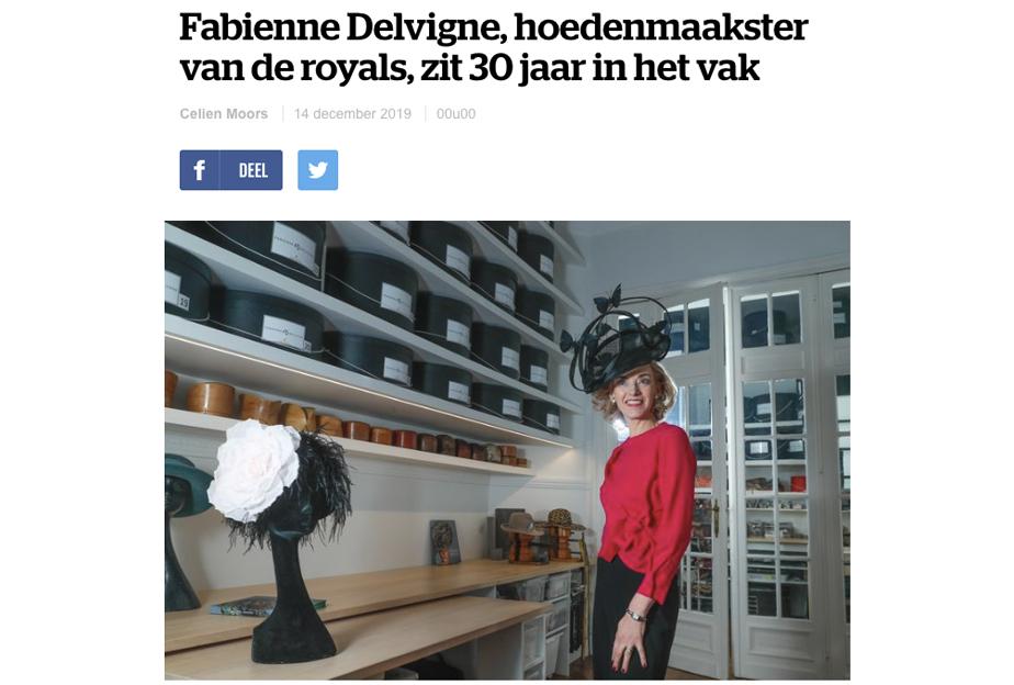 """HLN - """"Fabienne Delvigne, hoedenmaakster van de royals, zit 30 jaar in het vak"""" (NL)"""