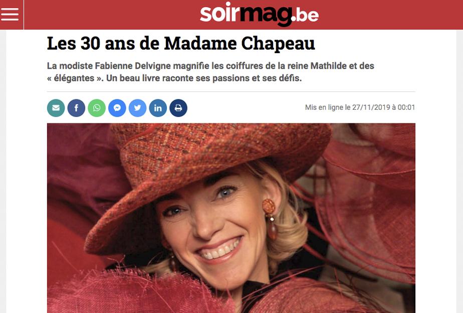 Le Soirmag célèbre les 30 ans de carrière de Fabienne Delvigne dans son numéro du 27 Novembre 2019.