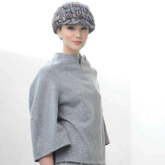 Fabienne Delvigne Cap Chan Tweet Fabric Brown Grey White