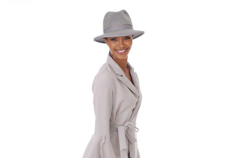 Fabienne Delvigne Hat Fedora Katrina Velvet Felt Grey LD